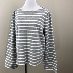 H&M Striped Bell Sleeve Shirt French Terry